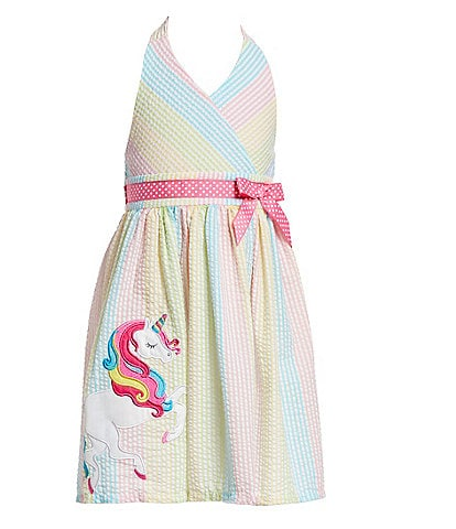 Rare Editions Little Girls 2T-6X Unicorn-Appliqued Striped Fit-And-Flare Dress
