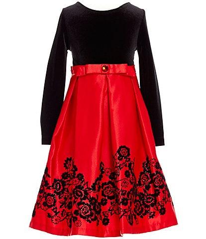 Rare Editions Little Girls 2T-6X Velvet Flocked Dress