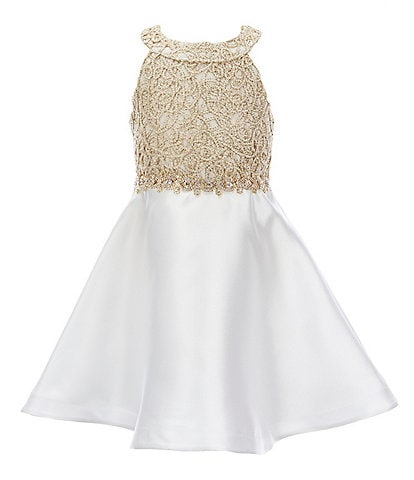 Rare Editions Little Girls 4-6X Bow-Back Embellished/Mikado Fit-And-Flare Dress