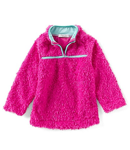 Rare Editions Little Girls 4-6X Faux-Sherpa Contrast Binding Pullover