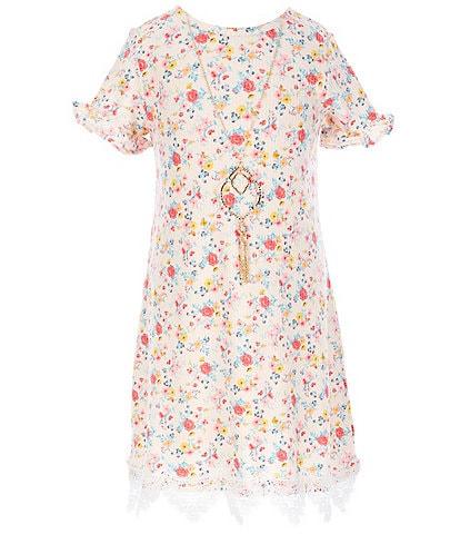 Rare Editions Little Girls 4-6X Floral Scalloped Lace-Hem Shift Dress