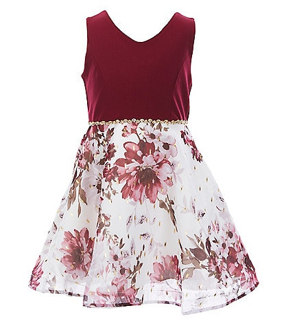 Rare Editions Little Girls 4-6X Mikado/Foiled-Floral Chiffon Fit-And-Flare Dress