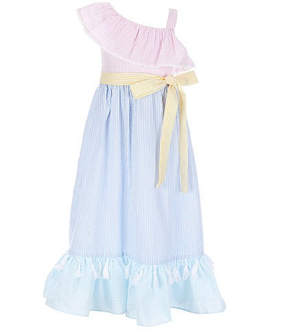 Rare Editions Little Girls 4-6X One-Shoulder Colorblock Maxi Dress