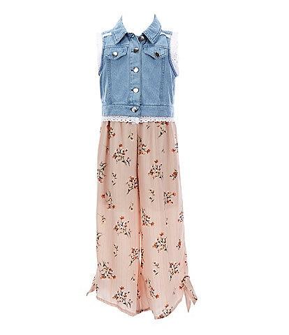 Rare Editions Little Girls 4-6X Printed Chiffon Jumpsuit & Denim Vest Set