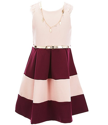 Rare Editions Little Girls 4-6X Scuba Crepe/Colorblock Fit-And-Flare Dress