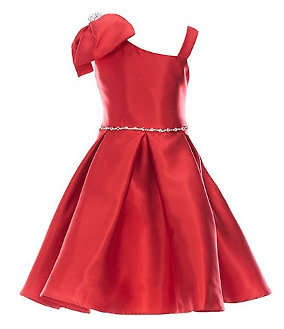 Rare Editions Little Girls 4-6X Shoulder-Bow Mikado Fit-And-Flare Dress