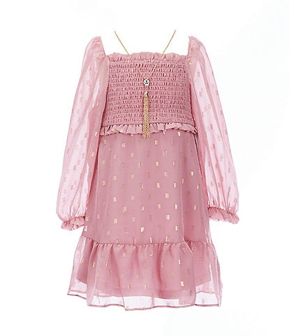 Rare Editions Little Girls 4-6X Smocked Lurex-Dotted Chiffon A-Line Dress