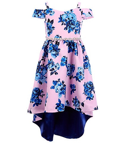 Rare Editions Little Girls 4-6X Sweetheart-Neck Cold-Shoulder Floral Satin High-Low Dress
