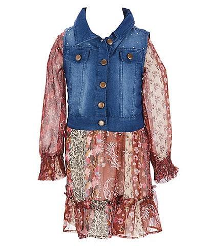 Rare Editions Little Girls 4T-6X Long-Sleeve Printed Foil Chiffon Dress With Denim Vest Set