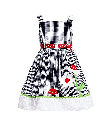 Rare Editions Toddler Girls 2T-4T Flower-Applique Seersucker Fit-And-Flare Dress