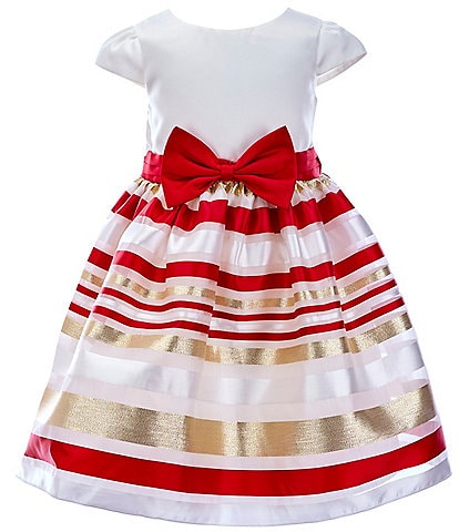 Rare Editions Toddler Girls 2T-4T Satin/Striped-Burnout-Organza Fit-And-Flare Dress