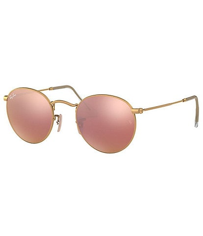 Ray-Ban Round Pink Mirrored Lens 53mm Sunglasses