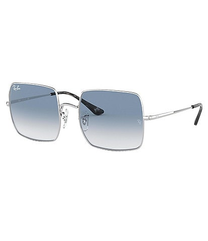 Ray-Ban Unisex Silver/Blue Oversized Rectangle Gradient Lens Sunglasses