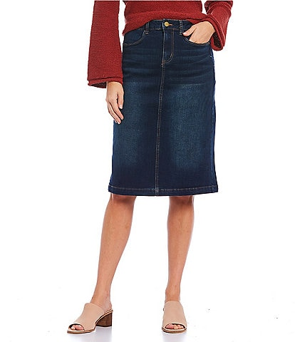 Reba A-Line Dark Wash Denim Skirt