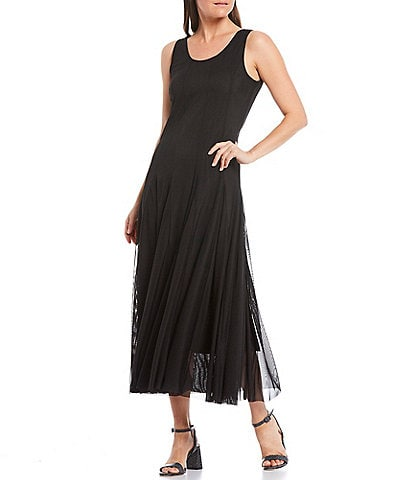 Reba A-Line Scoop Neck Sleeveless Flared Hem Mesh Midi Dress