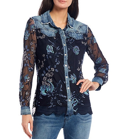 Reba Blue Floral Embroidered Mesh & Denim Button Front Long Sleeve Scalloped Hem Shirt