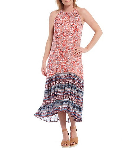 Reba Border Print High-Low Flounce Hem Halter Dress