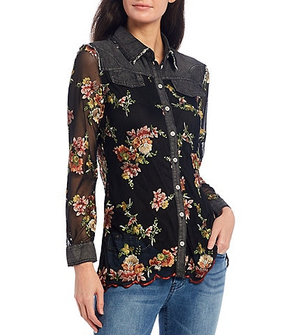 Reba Bouquet Floral Embroidered Mesh & Denim Button Front Long Sleeve Scalloped Hem Shirt