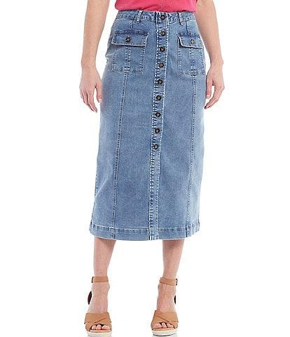 Reba Button Front Patch Pocket A-Line Denim Skirt
