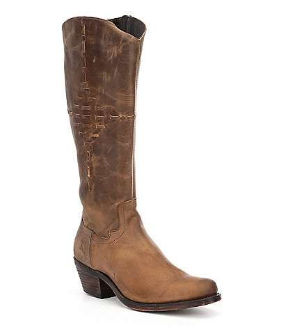 Reba by Justin McAlester Distressed Stitch Detail Western Block Heel Boots