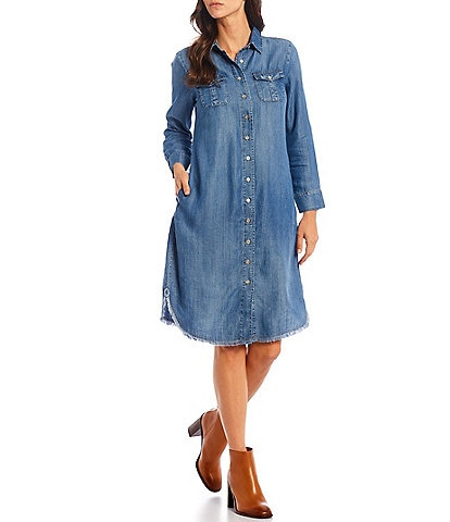 Reba Chambray Point Collar Long Sleeve Frayed Hem Shirt Dress