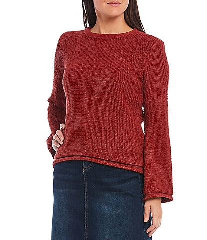 Reba Cotton Jersey Round Neck Bell Sleeve Sweater