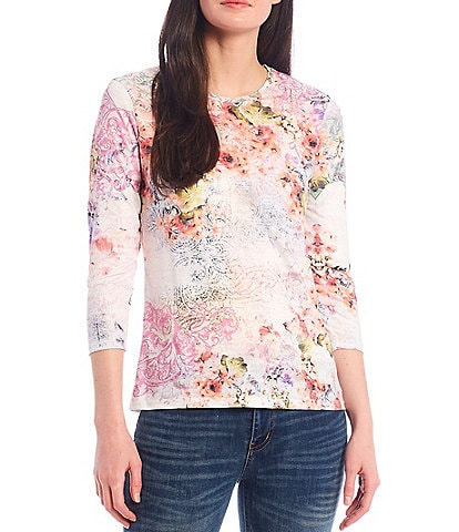 Reba Crystal Embellished Multi Floral Print 3/4 Sleeve Burnout Jersey Knit Tee