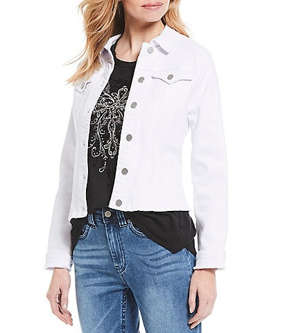 Reba Denim Long Sleeve Frayed Cuff Detail Jacket