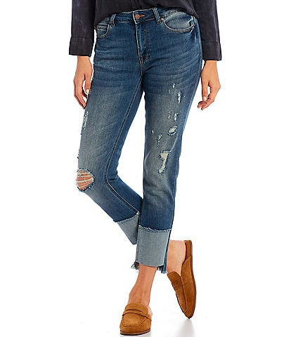 Reba Distressed Relaxed Fit Mid Rise Paneled Jeans