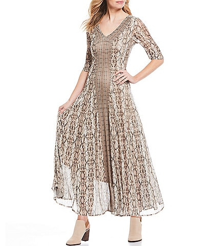 Reba Embellished Mesh Snake Print Stretch Maxi Dress