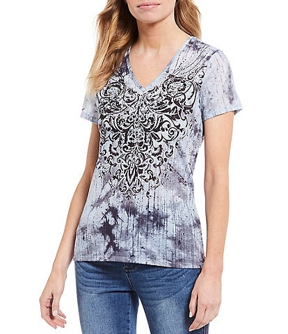 Reba Embellished Scroll Medallion Print V-Neck Short Sleeve Knit Tee