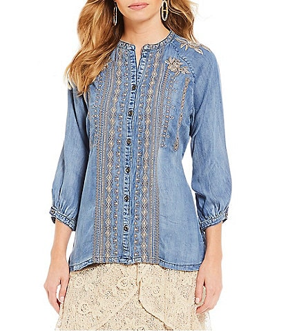 Reba Embroidered Chambray Balloon Sleeve Button Up Shirt