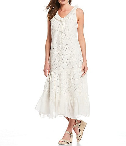 Reba Embroidered Eyelet Handkerchief Flounce Hem Sleeveless Midi Dress