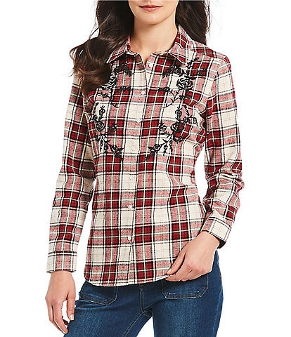 Reba Embroidered Plaid Shirt