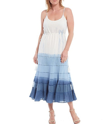 Reba Embroidered Sleeveless Tie Dye Midi Slip Dress