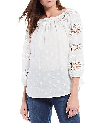 Reba Embroidered Square Neck Long Sleeve Lace Inset Cotton Poplin Top