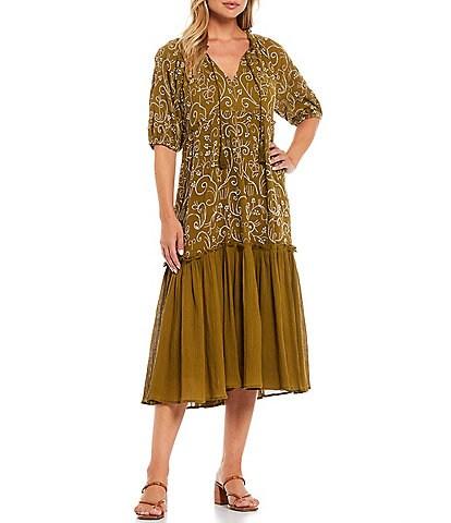 Reba Embroidered Tassel Detail Scoop Neck Short Puff Sleeve Tiered Cotton Gauze Dress