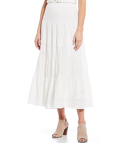 Reba Embroidered Tiered Pull-On Cotton Midi Skirt