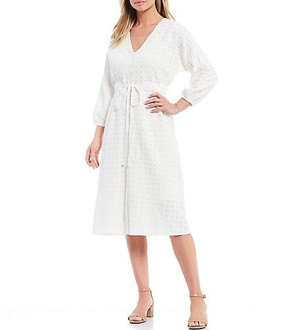 Reba Embroidered V-Neck 3/4 Sleeve Self Tie Button Front Eyelet Dress