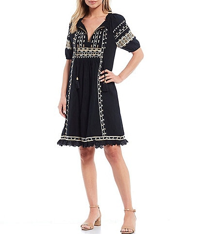 Reba Embroidered V-Neck Flounce Hem Puff Elbow Sleeve Cotton Crinkle Dress