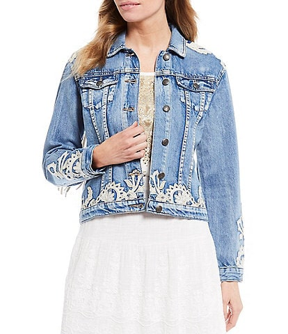 Reba Faux Suede Fringe Stitch Applique Denim Jacket