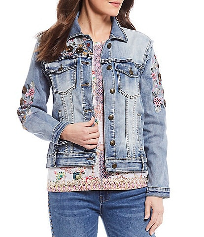 Reba Floral Embroidered Detail Denim Jacket