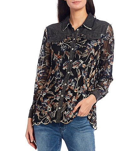 Reba Floral Embroidered Mesh & Denim Button Front Scalloped Hem Shirt