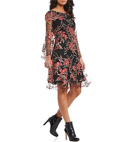 Reba Floral Embroidered Mesh Dress