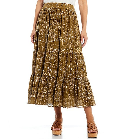 Reba Floral Embroidered Tiered Crinkle A-Line Pull-On Skirt