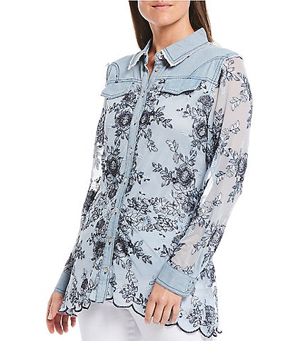 Reba Floral Embroidery Long Sleeve Button Front Top