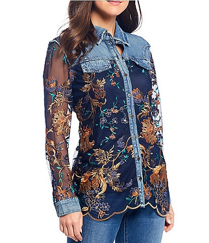 Reba Floral Print Embroidered & Denim Button Front Scalloped Hem Cotton Shirt