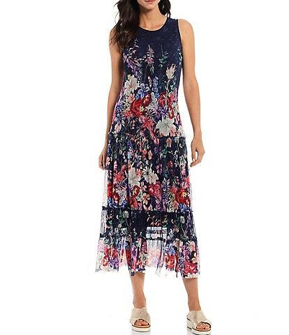 Reba Floral Printed Mesh A-Line Dress