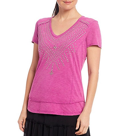 Reba Harmony Studded V-Neck Short Sleeve Knit Top
