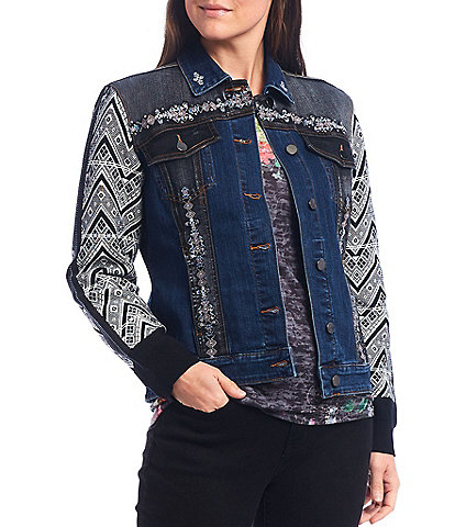 Reba Knit Pattern Long Sleeve Embroidered Studded Trucker Denim Jacket